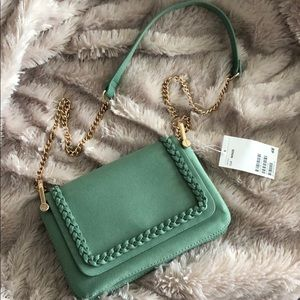 Sage Colored Suede Link-Chain Crossbody
